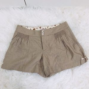 Rebecca Taylor Side-Tie Beige Trouser Shorts